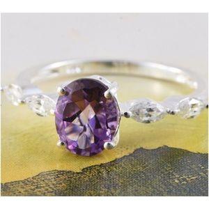 Jewelry - Bolivian Amethyst, Sim.Diamond Sterling Silver Rin